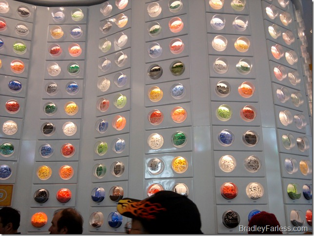 A wall of LEGOs that you buy by weight.