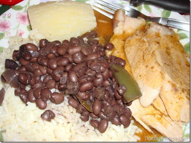 Roast pork, black beans with rice and yuca.