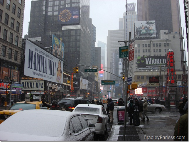 The beginning of the snowfall in Times Square, New York City, December 26th, 2010.