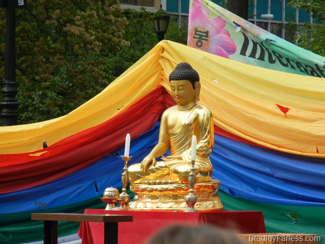 A Buddha statue at the Lotus Lantern Festival, Union Square, 2011.
