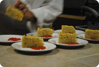 Plating the risotto cakes