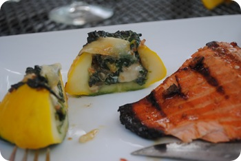 stuffed pattypan squash and grilled salmon