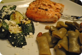green beans, salmon, and zucchini with goat cheese