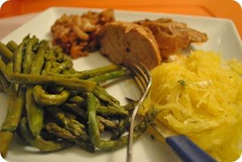 asparagus, pork tenderloin, spaghetti squash