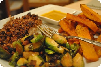 salmon, brussels sprouts, butternut squash fries