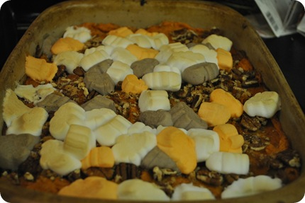 sweet potato casserole with Halloween marshmallows