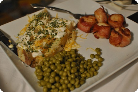 baked potato, scallops, and peas