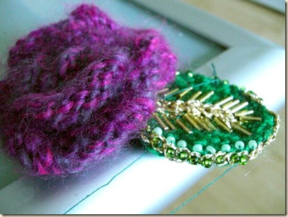 Magenta mohair rose with beaded leaf