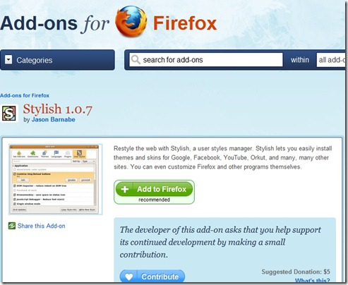 stylish add-ons for firefox