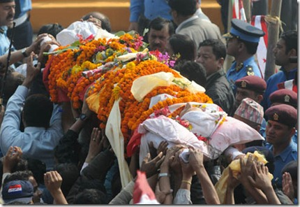 The body of NC Chairman GP Koirala being taken for the last tribute at Dashrath Stadium, Kathmandu on Sunday, March 21, 2010.