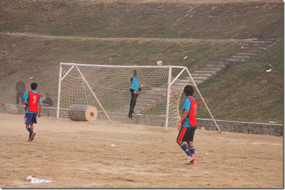another safe block _hero of 2009 sports week goalkeeper ankur dhungana. he saved many attack