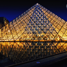 Pyramid of Louvre by Andrea Conti - Buildings & Architecture Public & Historical ( lights, water, paris, louvre, building, moon, reflection, pyramid, glass, france, night, architecture )