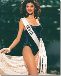 Sushmita Sen of India competes in the swimsuit parade in the Miss Universe 1994 finals, on 21st May 1994, in Manila