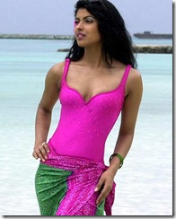 Miss India, Priyanka Chopra, poses for photographers during the beachwear section of the Miss World contest at Full Moon Island in Maldives