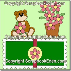 bear with flower pot and scalloped mat-300wjl
