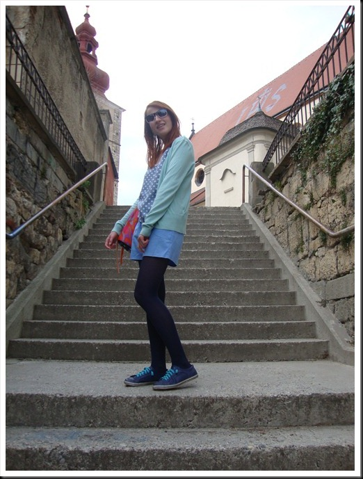DIY bag; vintage top and pants; H&M tights and cardigan; Graceland shoes (5)