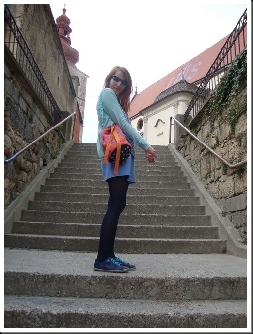 DIY bag; vintage top and pants; H&M tights and cardigan; Graceland shoes (6)