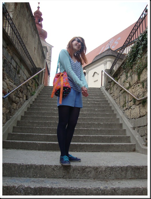 DIY bag; vintage top and pants; H&M tights and cardigan; Graceland shoes (7)