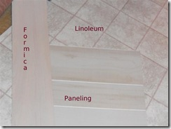Samples of Formica,lino,paneling.