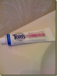 Tom's of Maine tooth paste in aluminum tube