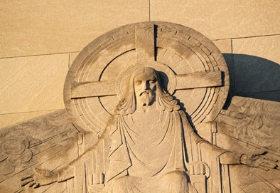 Image of Jesus Christ on Reformation Lutheran church building, Capitol Hill, DC