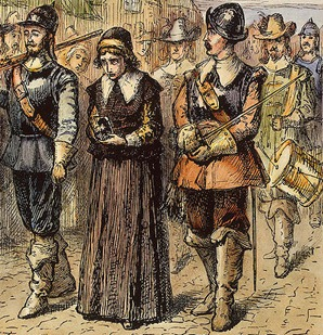 Friends minister Mary Dyer being led to execution in Boston