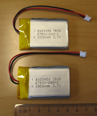1 Ah LiPo batteries to be used with the Gumstix Overo Fire video recorder.