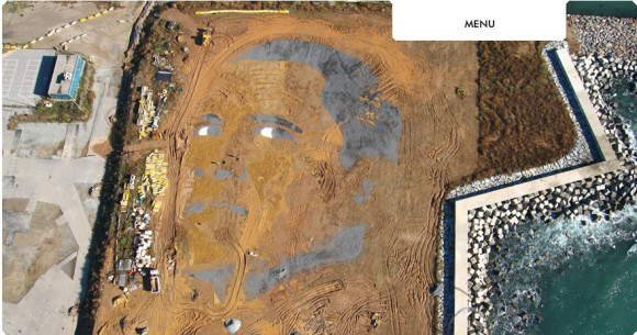 2.5 Acre Sand Painting of Obama in Barcelona, Spain