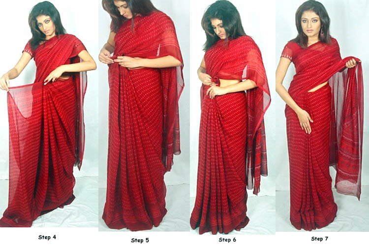 How to Wear a Saree... Seven simple steps. Also, learn to wear a Saree the Gujarati Style