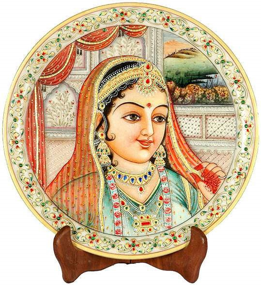 Beautiful Indian Paintings on Marble: Marble Plates with Mughlai Painting