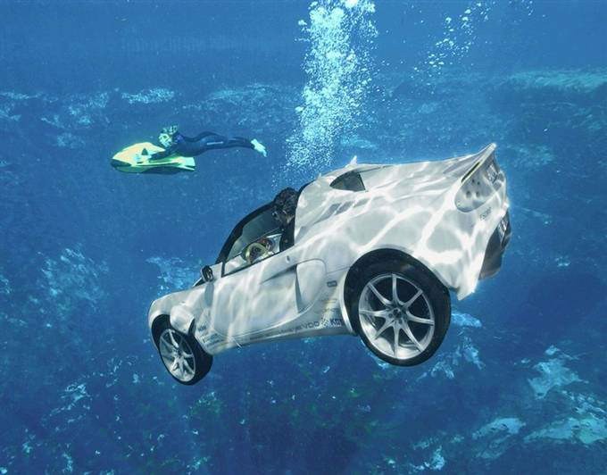 The Scuba Car: Rinspeed sQuba is an amphibious convertible that can completely submerge itself underwater