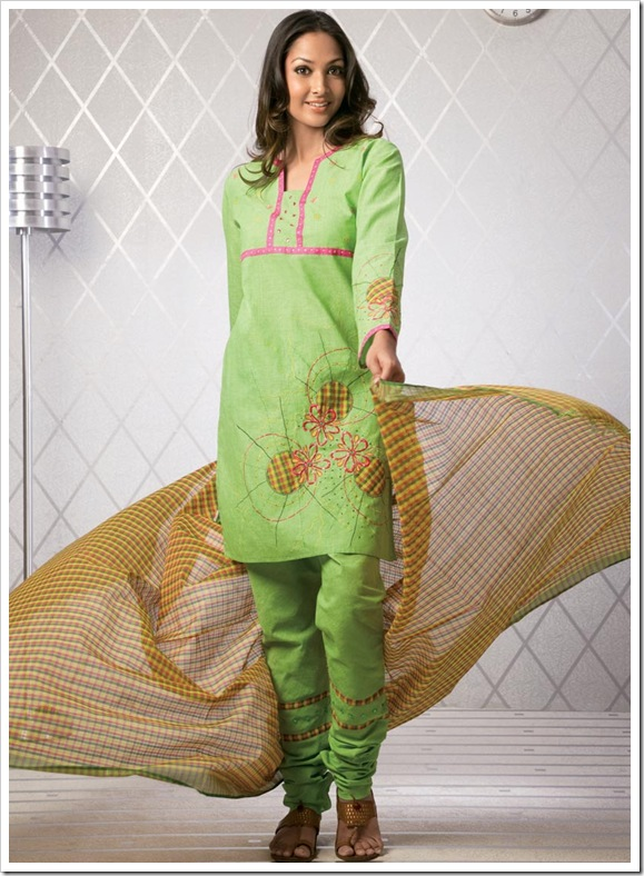 Cotton shirt with light dupatta patched on shirt and pyjami