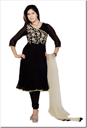 Anarkali shirt with angrakha pattern