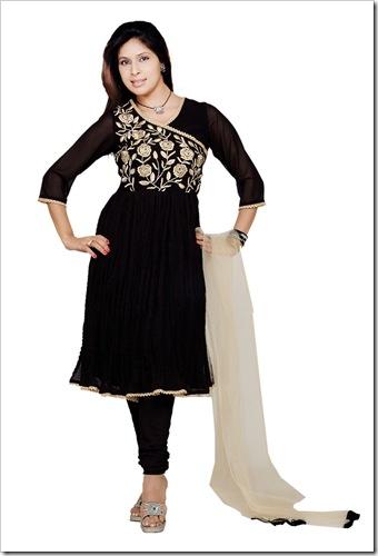 Anarkali shirt with angrakha pattern
