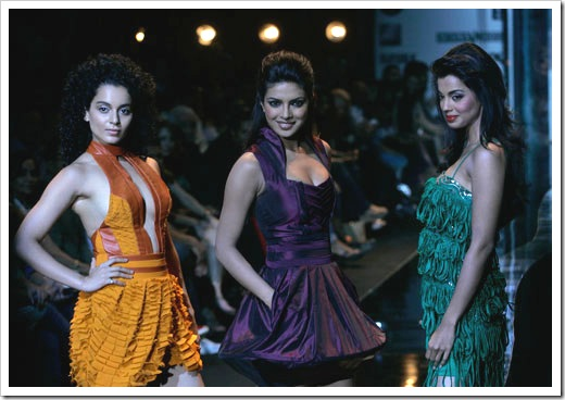 Priyanka, kangana & mugdha godse walking on ramp for Narendra kumar fashion designer india at Lakme Fashion week in Mumbai 1