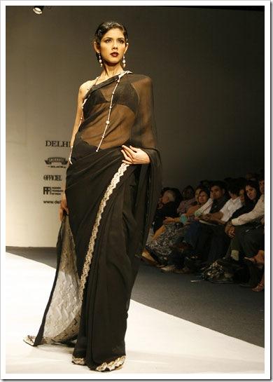 sheer black - embroiderd border sari with bikini style blouse