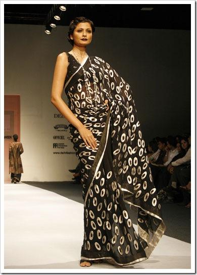 Silver print black sari