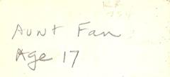 Aunt Fan Lister Age 17 two GR