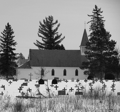 St Theodores Church and cemetery Feb 19 Black and white