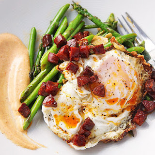Sautéed Asparagus with Chorizo, Fried Eggs, and Smoked Paprika Allioli