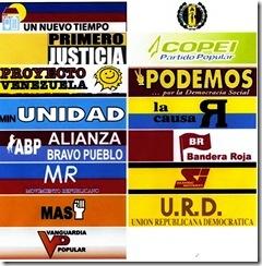 Tarjetas de los partidos presentes en la mesa unitaria democratica