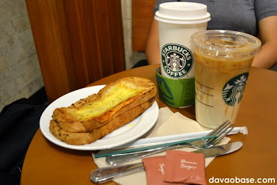 Grilled Ham & Three Cheese on Italian Bread, Venti Hot White Chocolate Mocha, and Venti Iced Caramel Macchiato at Starbucks Abreeza