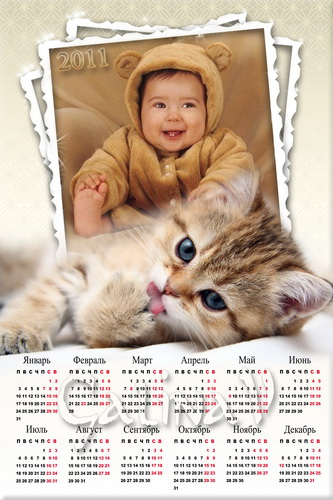 Фоторамка и календарь на 2011 год - Милый котёнок
