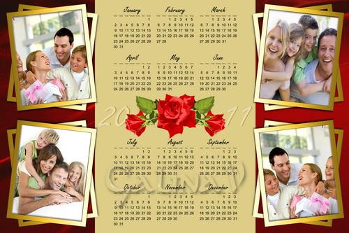 Фоторамка для семьи на 4 фото и календарь на 2011