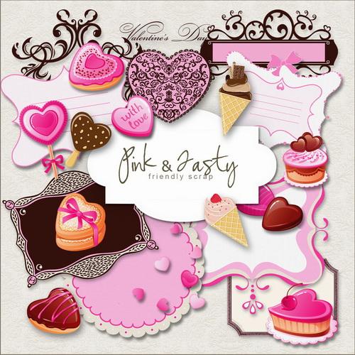 Клипарт ко Дню влюблённых - Розовые вкусняшки