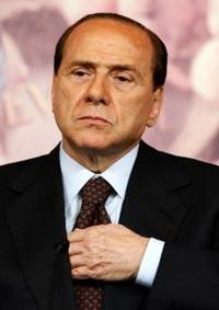 """Silvio Berlusconi mit der """"unsichtbaren Hand"""" der Illuminaten"""