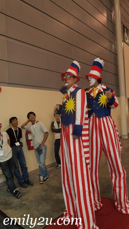 clowns on stilts