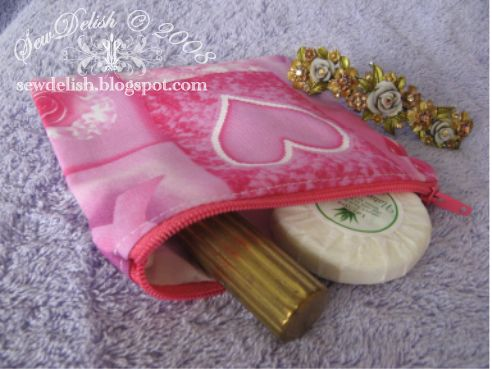 sew make showercap make-up zippered pouch Breast Cancer Awareness Fabric