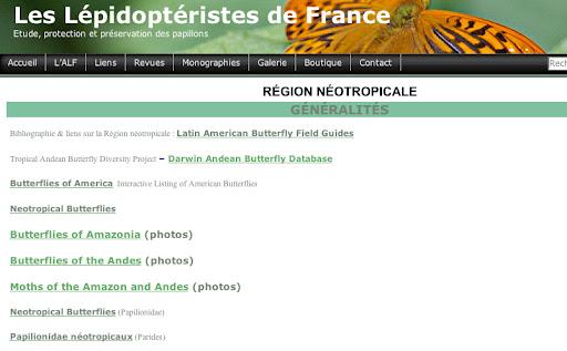 4. ... on obtient les liens vers des sites internet consacrés aux lépidoptères de la région néotropicale