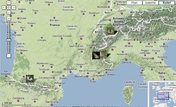 Localisation des photos en France et en Suisse
